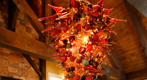 Hand Blown Glass Chandelier at Culinary and Craft School