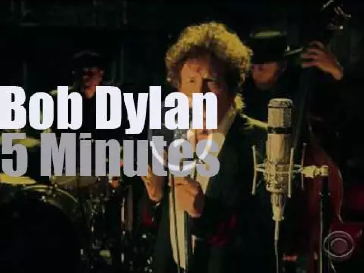 """On TV today, Bob Dylan is at """"Letterman"""" before it closes tomorrow (2015)"""