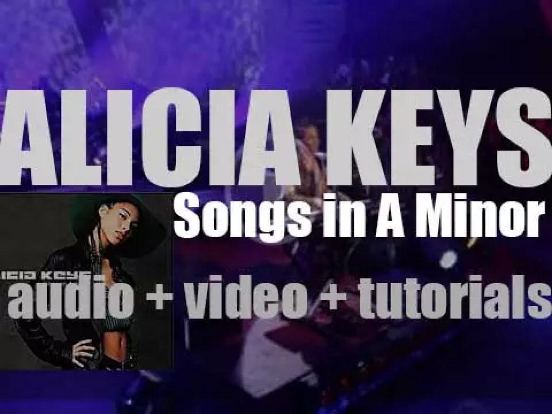 "J Records publish Alicia Keys' debut album : 'Songs in A Minor' featuring 'Fallin"" (2001)"