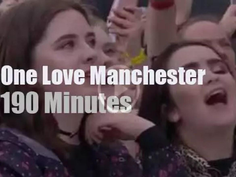 Ariana, Liam, Robbie et al at 'One Love Manchester' (2017)