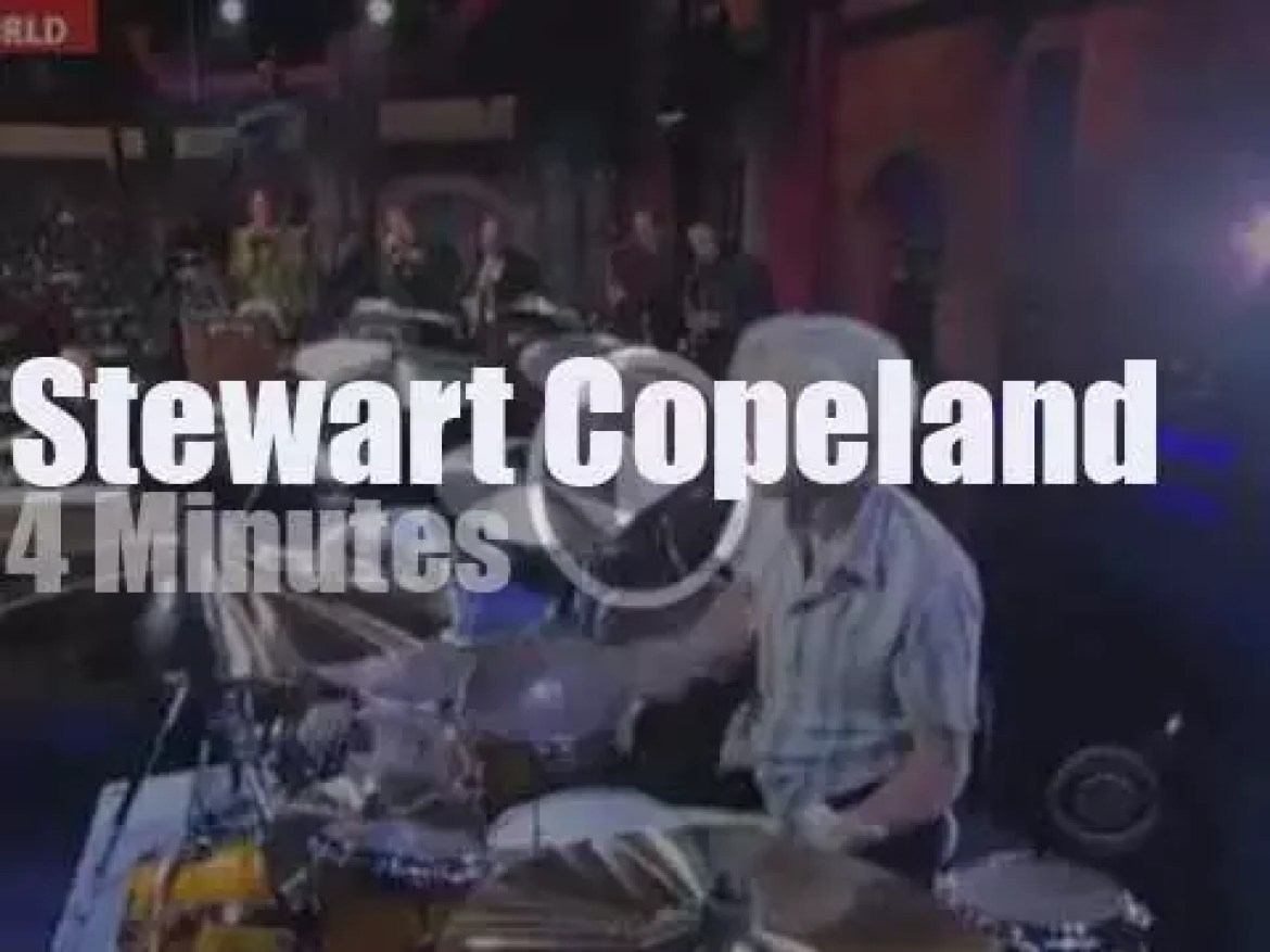On TV today,  Stewart Copeland soloes on 'Letterman' (2011)