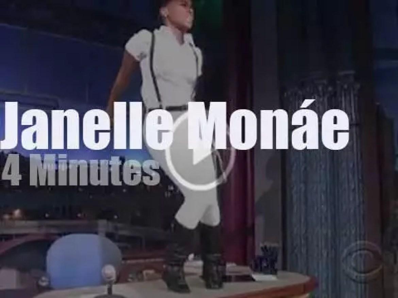 On TV today, Janelle Monáe with David Letterman (2013)
