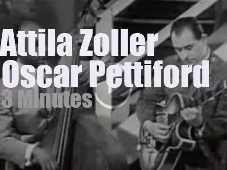 On Austrian TV today, Attila Zoller meets  Oscar Pettiford (1959)