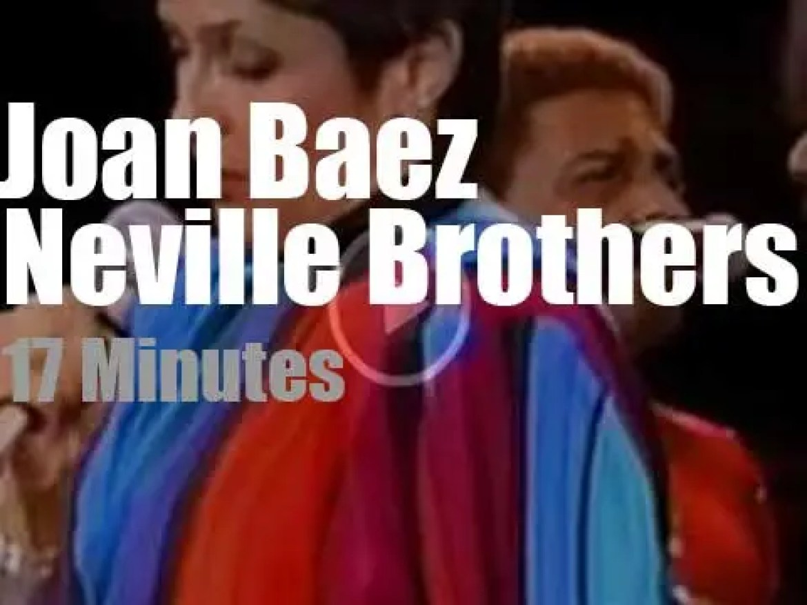 Joan Baez teams up with the Neville Brothers for Amnesty (1986)