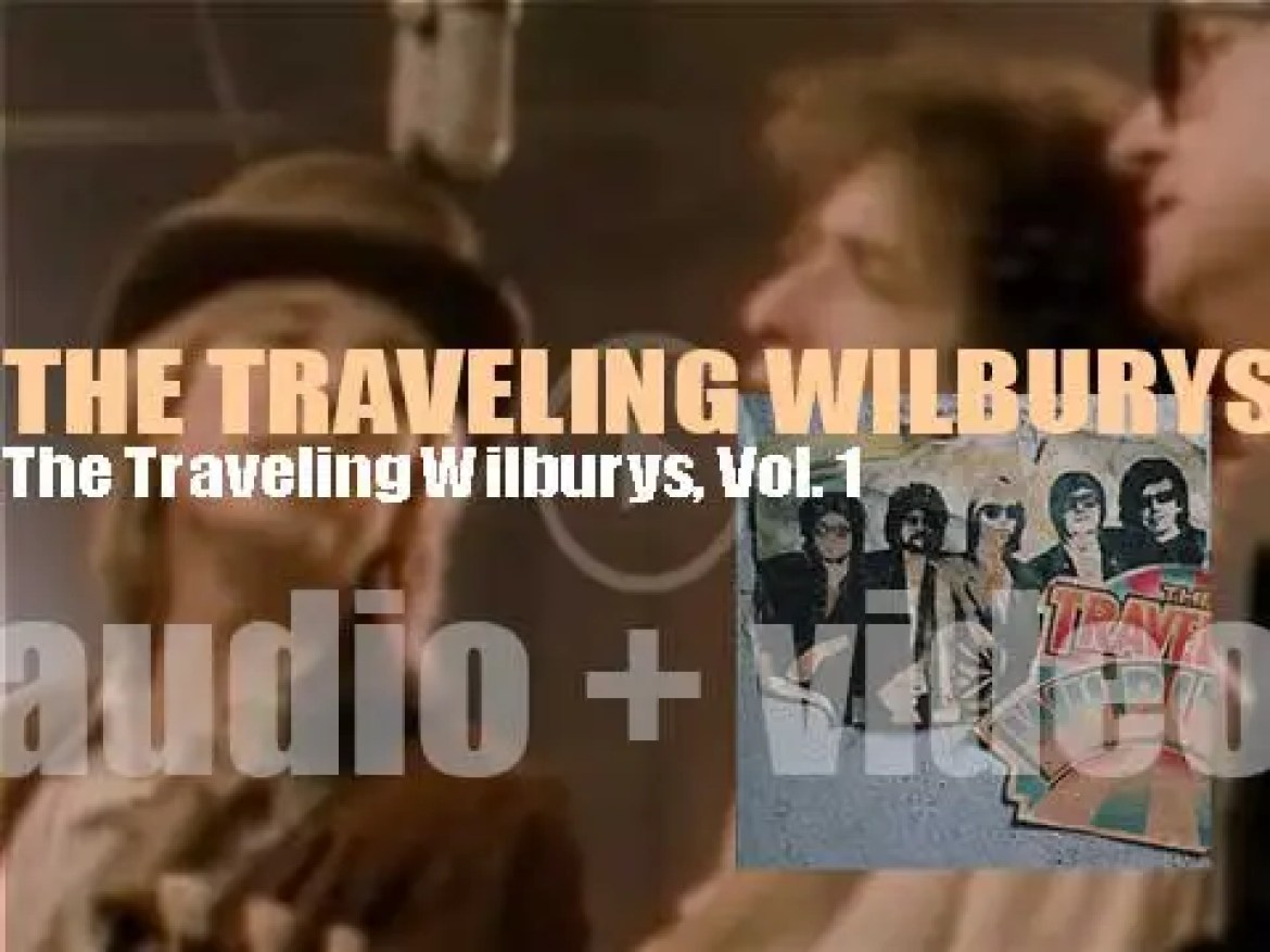 The Traveling Wilburys release 'The Traveling Wilburys, Vol. 1' featuring members George Harrison, Jeff Lynne, Bob Dylan, Roy Orbison and Tom Petty (1988)