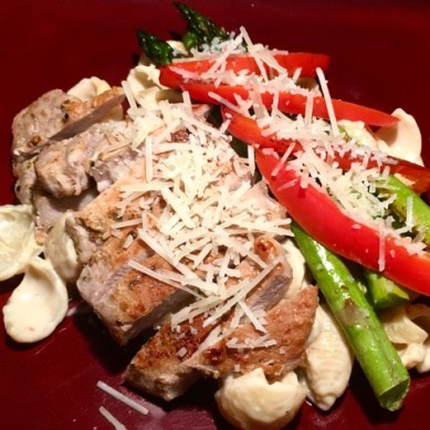 RVEpicure: Pork Chop Alfredo with Asparagus and Red Bell Pepper