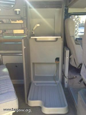 Small RV Trailers Bathroom - fold down shower