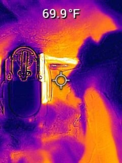 Thermal image of propane tank with insulation - RV Winter Camping