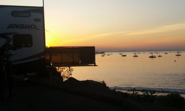 RV at beach sunrise