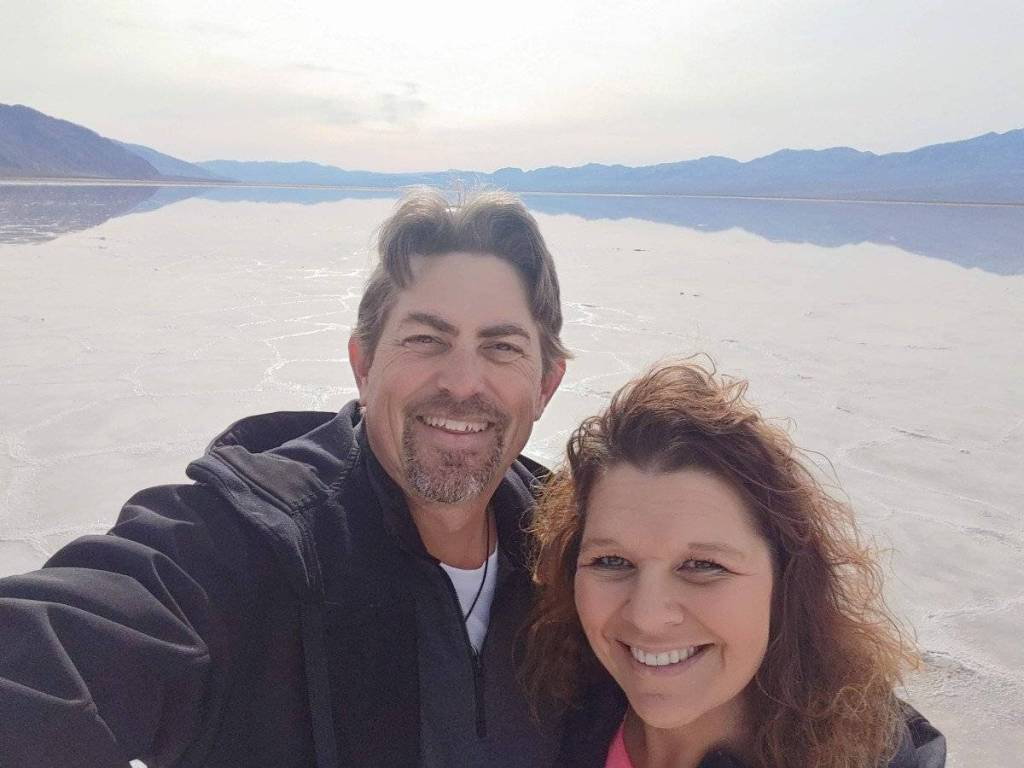 Selfie RVRoadramblers Craig and Nicole at Badwater Basin Death Valley National Park