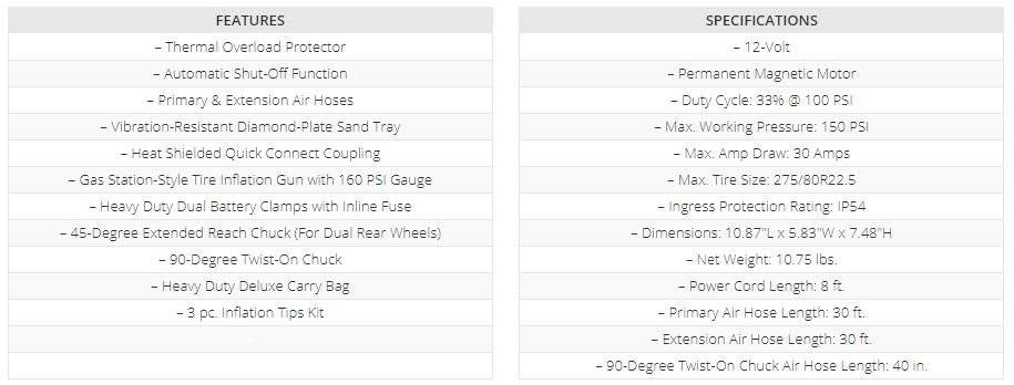 VIAIR 400P-RV-Automatic list of Specifications Features Accessories for the RV Tire Inflator