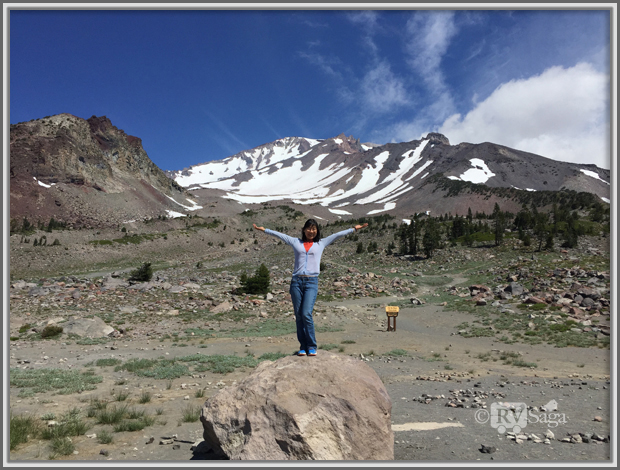 Weiwei at the Old Ski Bowl Trailhead, Mt. Shasta