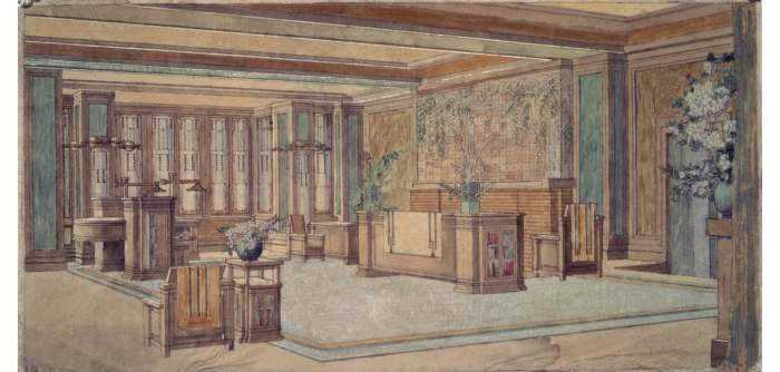 C. Thaxter Shaw House, Living Area, Montreal, Canada, 1906. Photographic Reproduction. Courtesy of The Frank Lloyd Wright Foundation Archives (The Museum of Modern Art | Avery Architectural & Fine Arts Library, Columbia University, New York). Drawing copyright Frank Lloyd Wright Foundation, Scottsdale, Arizona.
