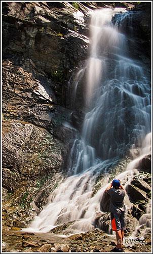 Boy Taking Photos of the Bridal Veil Falls