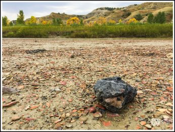 A Chunk of Coal and Rocks on- aspers-by-Little-Missouri-River