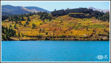 A Stone Dike on A Colorful Hill by North Lake. Highway of Legends, Colorado