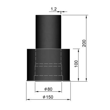 EW 80 1,2 mm verloop EW 80 naar EW 150 MM 1