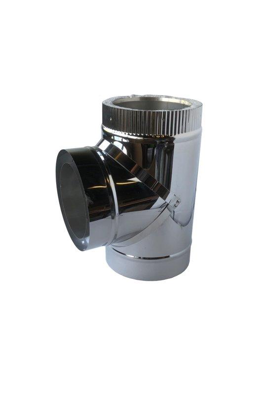 Isotube Plus 80 x130 T-stuk 90 graden met dop ZWART