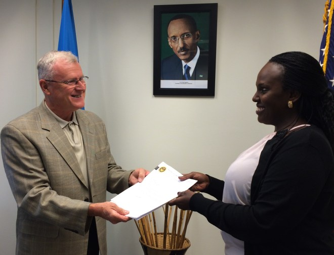 Rwandan Embassy awards RCEF their legal papers