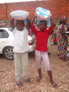Students receiving food for families