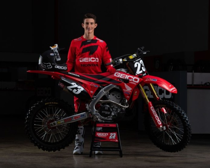 Sexton with his GEICO Honda CRF250R.