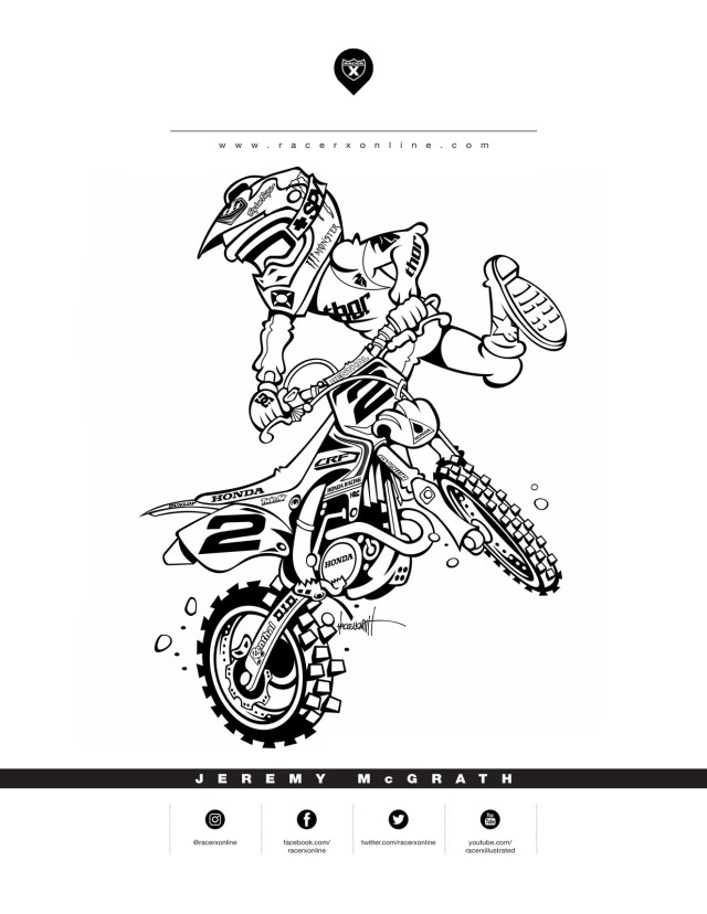 Downloadable Motocross Coloring Pages for Kids - Racer X