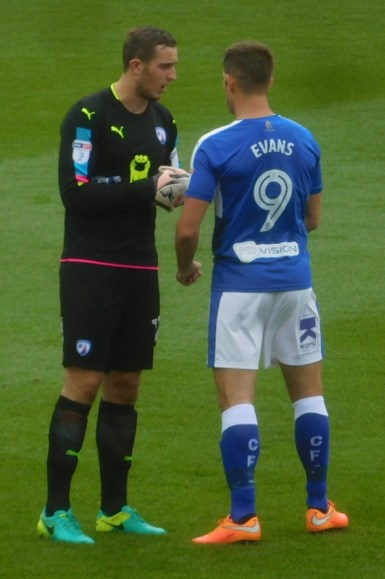 Ryan Fulton and Ched Evans have some final words before kick off