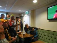 Watching the Manchester derby in the clubhouse