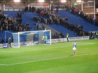 Ched Evans applauds the supporters at full time