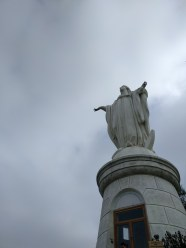 At the top of San Cristobal Hill, the big Virgin looking over the city