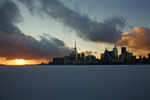 Toronto's Skyline at sunset in the winter.