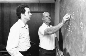 Tom Landry teaching Roger Staubach