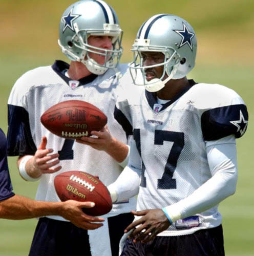 Quincy Carter (right) was benched midway through the 2002 season to the benefit of Chad Hutchinson, who struggled in the same areas that Carter did.