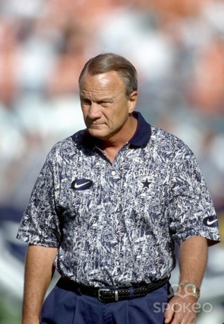 Dallas Cowboys head coach Barry Switzer strolls the sideline before the start of the game. Despite his teams dominant performance against the Dolphins, Switzer watched the credit go to the opposing coach, who had constructed a Cowboys team that was nearly unbeatable.