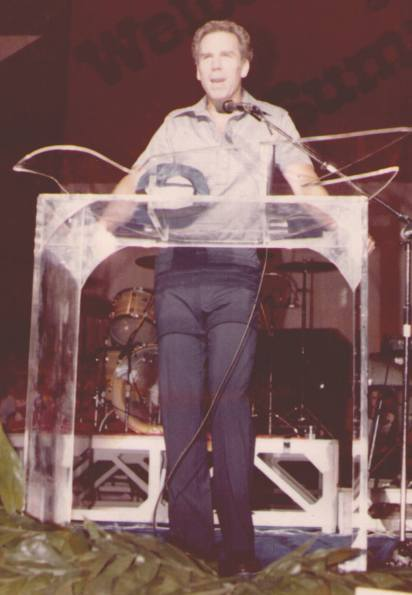 Roger Staubach speaking at a Christian Youth Conference in the early 1980s.