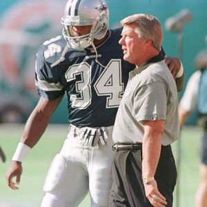 Dallas running back Herschel Walker greets Jimmy Johnson during pregame warmups. It was Johnson in 1989 who traded Walker to Minnesota for a boatload of draft picks that laid the foundation for the Cowboys success during the 1990s.