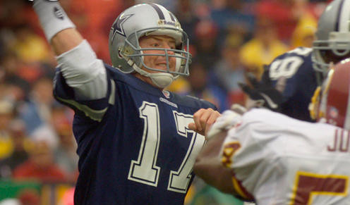 In relief of an injured Troy Aikman in 1998, Jason Garrett completed 14-of-17 passes for 169 yards and 1 TD as Dallas romped over the Redskins 31-10.