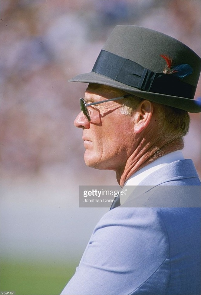 Dallas Cowboys head coach Tom Landry looks on from the sideline during his final game at Soldier Field