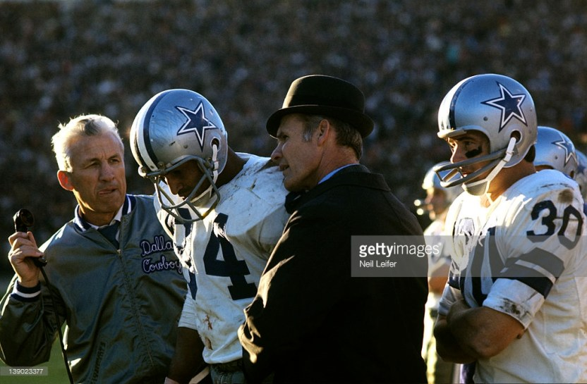 Pettis Norman (84) and Dan Reeves (30), shown here with Tom Landry during the 1970 NFC Title game, played a prominent role in Dallas' 1967 comeback victory over Pittsburgh.