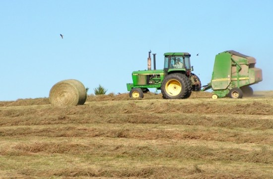 Make Hay While the Sun Shines: John Deere tractor and round baler