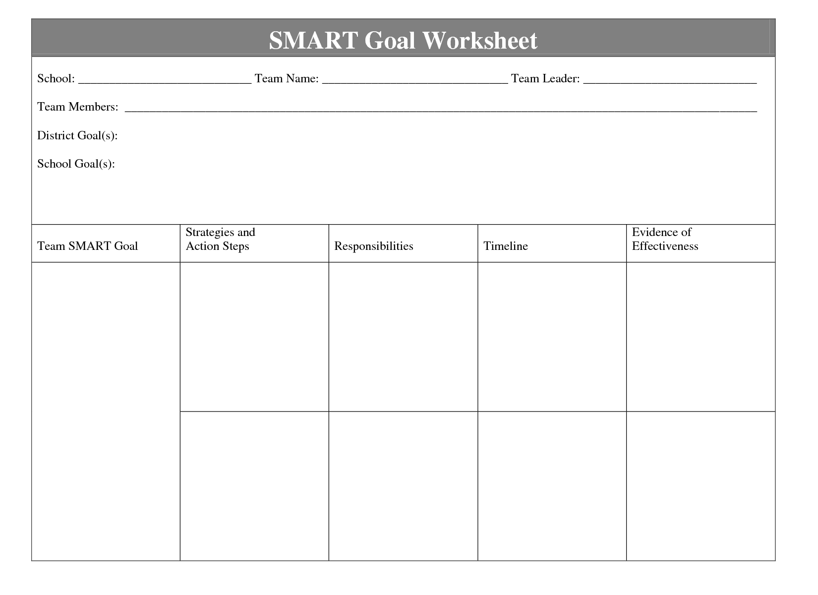 Smart Goals Template Smart Goal Planning Form Printable Ryan S Marketing Blog