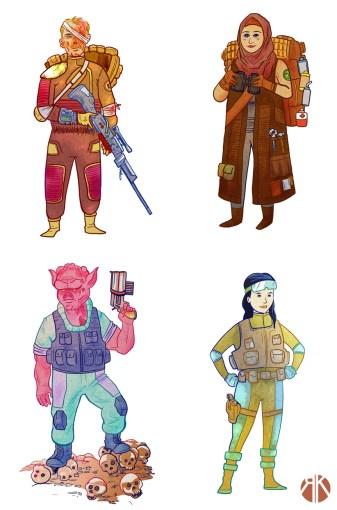 Wasteland Survivors. Character concepts.