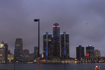 WIndsor, ON November 12, 2015 -- Detorit's Renaissance Center is photographed from the riverfront in Windsor on Thursday, November 12, 2015.