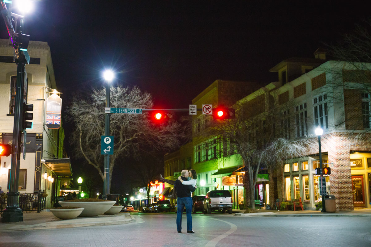 Outdoor Engagement Pictures, Downtown Mckinney