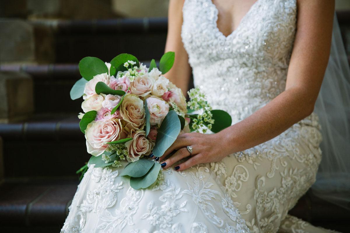 wedding dress and flowers dallas