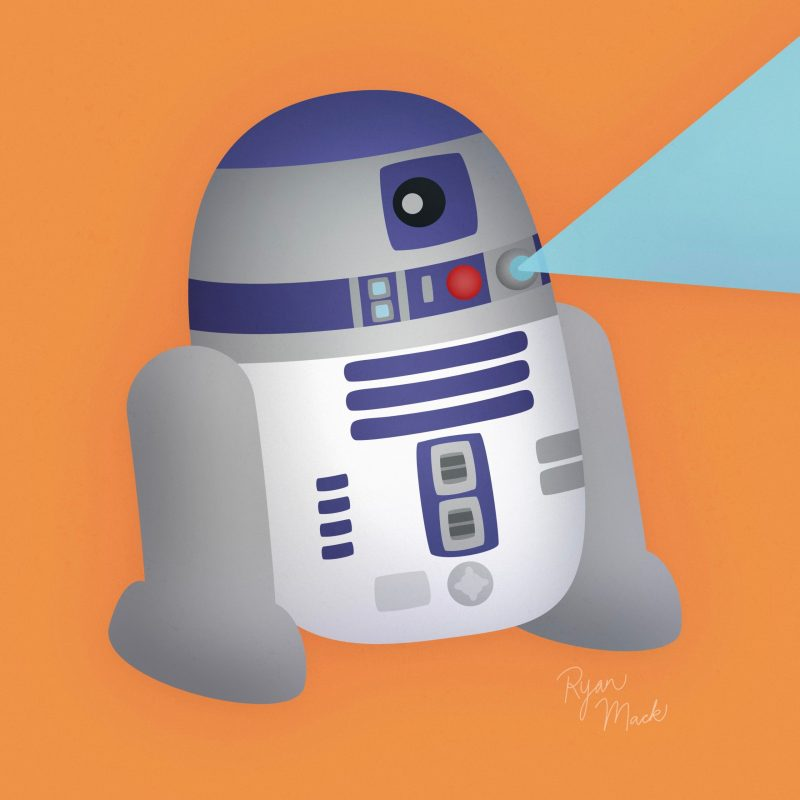 Cute stylized R2-D2 droid on orange background with holographic projection