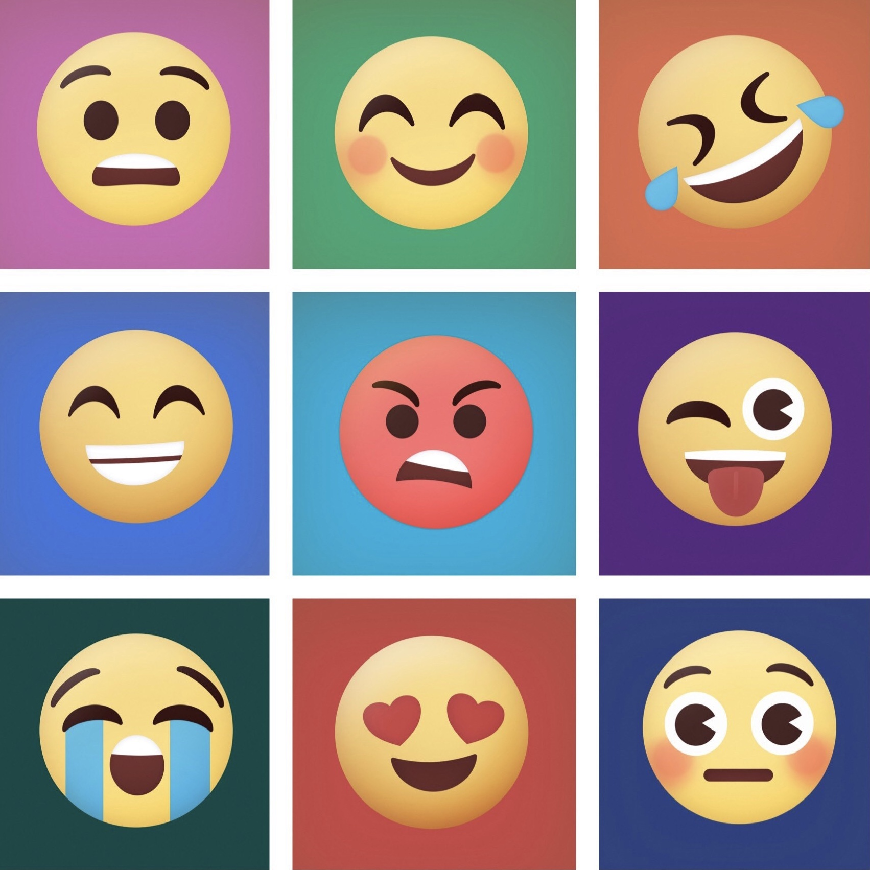 Emoji Faces on Colorful Grid