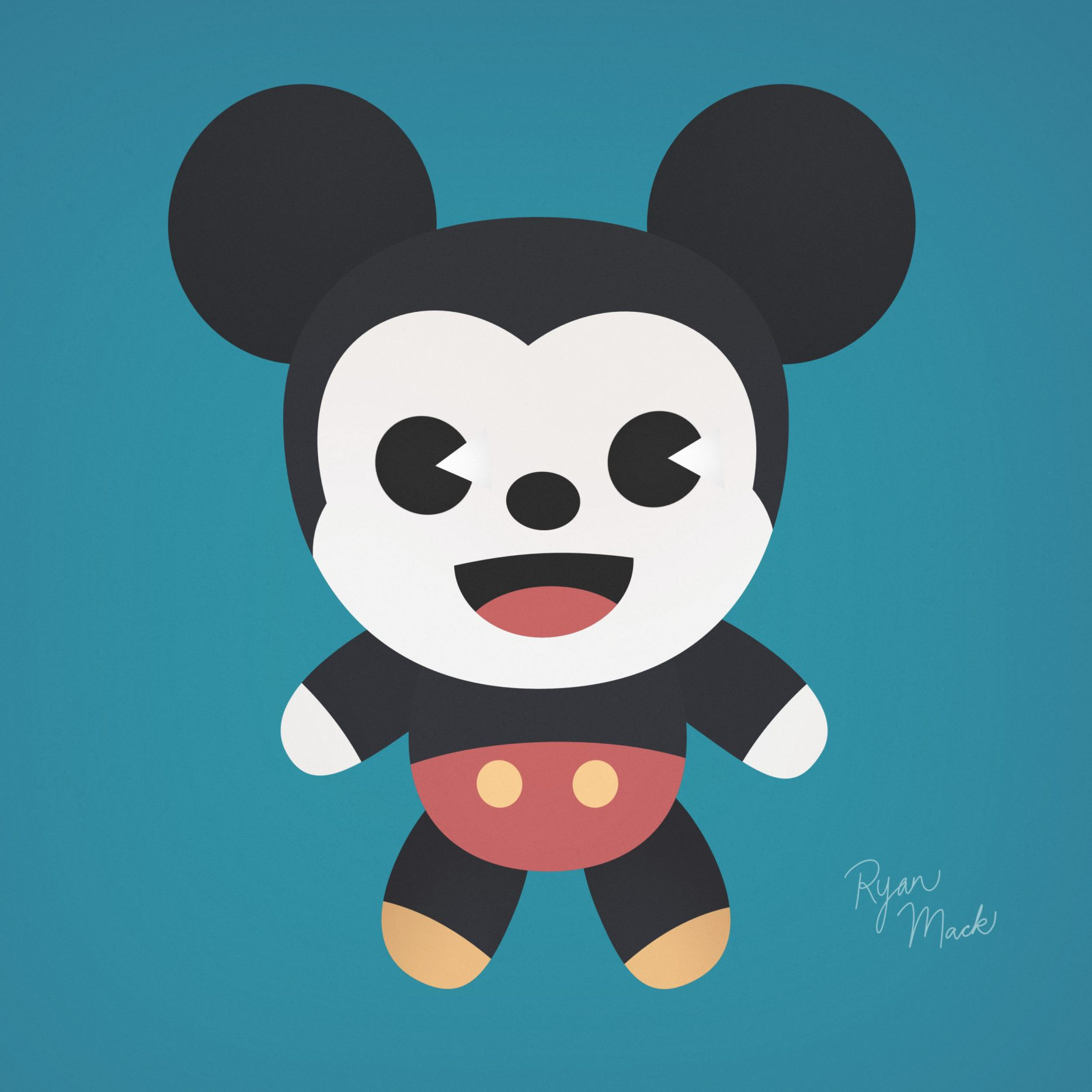 Cute stylized Mickey Mouse stuffed plush concept