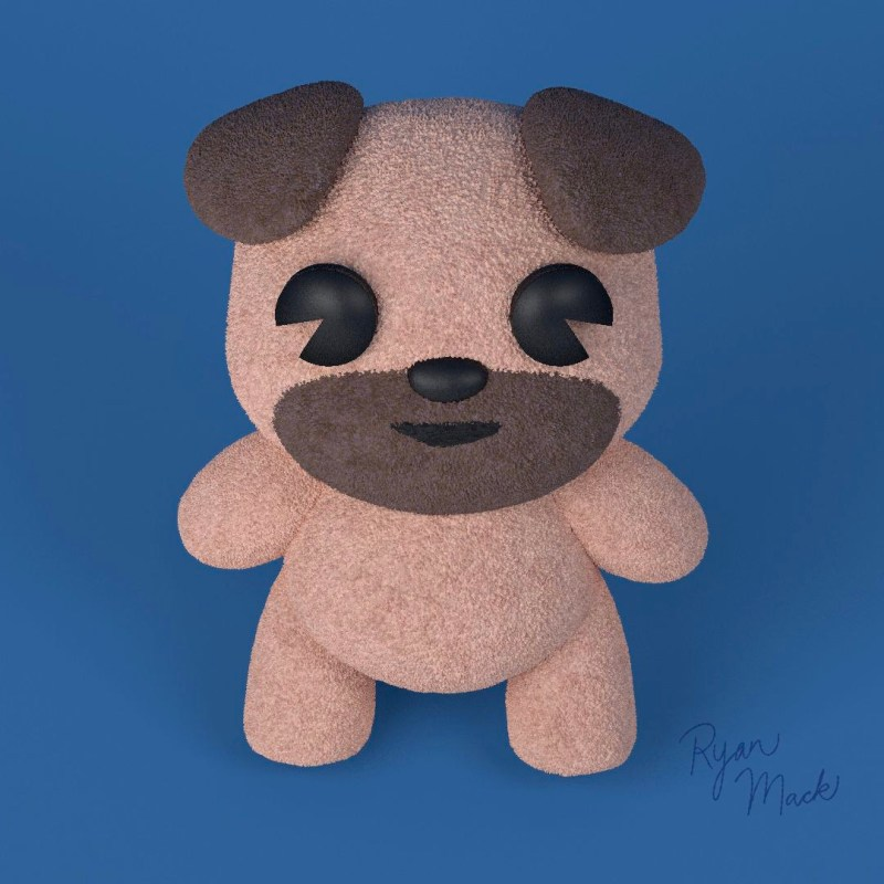 Stylized Pug Puppy Plush