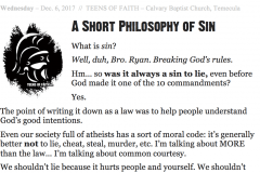 A Short Philosophy of Sin[TOF Announcement Sheets]